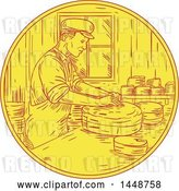 Vector Clip Art of Retro Sketched Drawing Styled Swiss Guy Making Cheese by Patrimonio