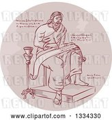 Vector Clip Art of Retro Sketched Evangelist, Prophet or Saint Writing on a Paper Scroll with Manuscript Cypher Text Code in a Circle by Patrimonio