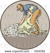 Vector Clip Art of Retro Sketched Farmer Shearing a Sheep in a Circle by Patrimonio