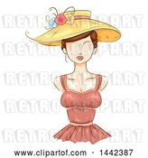 Vector Clip Art of Retro Sketched Female Mannequin with a Sun Hat and Bustier Dress by BNP Design Studio