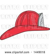 Vector Clip Art of Retro Sketched Fire Fighter Helmet by Patrimonio