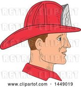 Vector Clip Art of Retro Sketched Fire Fighter Wearing a Helmet in Profile by Patrimonio