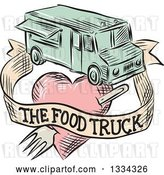Vector Clip Art of Retro Sketched Food Truck with a Banner and Fork Through a Heart by Patrimonio