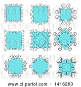 Vector Clip Art of Retro Sketched Gray and Blue Frame Design Elements by KJ Pargeter