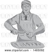 Vector Clip Art of Retro Sketched Grayscale Butcher Sharpening a Knife over a Cut of Meat by Patrimonio