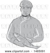 Vector Clip Art of Retro Sketched Grayscale Fishmonger Holding a Fish by Patrimonio