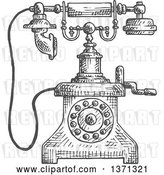Vector Clip Art of Retro Sketched Grayscale Telephone by Vector Tradition SM