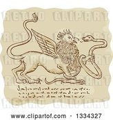 Vector Clip Art of Retro Sketched Griffin Battling a Snake with Manuscript Cypher Text Code by Patrimonio