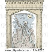 Vector Clip Art of Retro Sketched Grim Reaper in a Cemetery with an Arch Frame by Patrimonio
