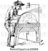 Vector Clip Art of Retro Sketched Guy Sharpening an Axe by Prawny Vintage