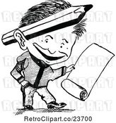 Vector Clip Art of Retro Sketched Guy with a Scroll by Prawny Vintage
