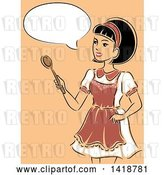 Vector Clip Art of Retro Sketched Housewife Wearing an Apron, Talking and Holding a Spoon by BNP Design Studio