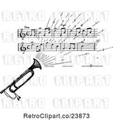 Vector Clip Art of Retro Sketched Instrument with Sheet Music by Prawny Vintage
