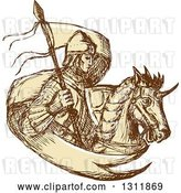 Vector Clip Art of Retro Sketched Knight with a Flag and Horse by Patrimonio