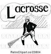 Vector Clip Art of Retro Sketched Lacrosse Player by Prawny Vintage