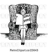 Vector Clip Art of Retro Sketched Lady Reading About Girls Sports by Prawny Vintage