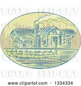 August 14th, 2018: Vector Clip Art of Retro Sketched Log Cabin with Smoke Rising from the Chimney, in an Oval by Patrimonio