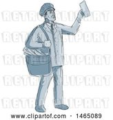 Vector Clip Art of Retro Sketched Mailman Holding up an Envelope by Patrimonio