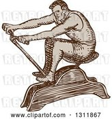 Vector Clip Art of Retro Sketched Male Athlete Exercising on a Rowing Machine by Patrimonio