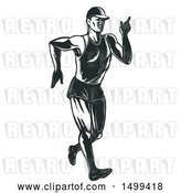 Vector Clip Art of Retro Sketched Male Athlete Speed Walking or Race Walking by Patrimonio