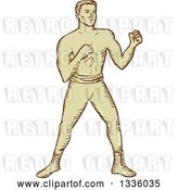 Vector Clip Art of Retro Sketched Male Boxer Ready to Fight by Patrimonio