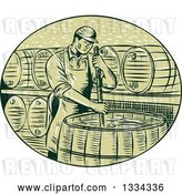 Vector Clip Art of Retro Sketched Male Brewmaster Stirring Beer Brew in a Kettle Barrel by Patrimonio