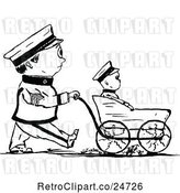 Vector Clip Art of Retro Sketched Male Soldier Walking His Son in a Stroller by Prawny Vintage