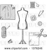 Vector Clip Art of Retro Sketched Mannequin, Scissors, Safety Pin, Needle, Threads, Buttons, Thimble, Fabric and Paper Drawing by Vector Tradition SM