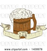 Vector Clip Art of Retro Sketched Medieval Wooden Beer Mug with Froth over a Ribbon Banner by Patrimonio