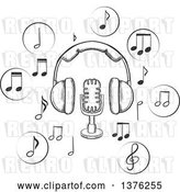 Vector Clip Art of Retro Sketched Microphone and Earphones Surrounded by Circular Icons with Music Notes by Vector Tradition SM