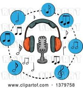 Vector Clip Art of Retro Sketched Microphone, Headphones and Music Notes by Vector Tradition SM