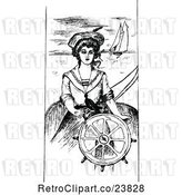Vector Clip Art of Retro Sketched Nautical Lady at a Helm by Prawny Vintage