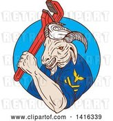 Vector Clip Art of Retro Sketched Navy Goat Guy Holding Pipe Monkey Wrench in a Blue Circle by Patrimonio