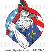 Vector Clip Art of Retro Sketched Navy Goat Guy Holding Pipe Monkey Wrench in an American Circle by Patrimonio