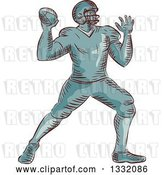 Vector Clip Art of Retro Sketched or Engraved American Football Player Throwing by Patrimonio