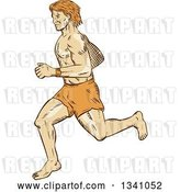 Vector Clip Art of Retro Sketched or Engraved Barefoot Male Runner by Patrimonio