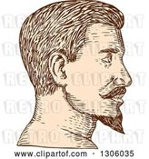 Vector Clip Art of Retro Sketched or Engraved Brown and Tan Profiled Guy's Face with a Goatee by Patrimonio