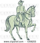 Vector Clip Art of Retro Sketched or Engraved Calvary Soldier on Horseback by Patrimonio