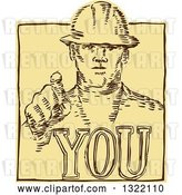 Vector Clip Art of Retro Sketched or Engraved Construction Worker Pointing over You Text by Patrimonio
