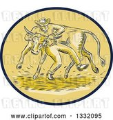 Vector Clip Art of Retro Sketched or Engraved Cowboy Wrestling a Bull in a Brown and Tan Oval by Patrimonio