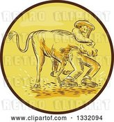 Vector Clip Art of Retro Sketched or Engraved Cowboy Wrestling a Bull in a Brown and Yellow Circle by Patrimonio