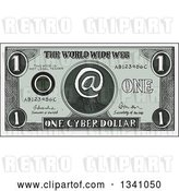 Vector Clip Art of Retro Sketched or Engraved Cyber Dollar Bill by Patrimonio