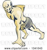 Vector Clip Art of Retro Sketched or Engraved Guy Doing One Handed Push Ups by Patrimonio