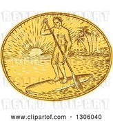 Vector Clip Art of Retro Sketched or Engraved Guy Paddle Boarding Against a Tropical Island and Sunset in an Oval by Patrimonio