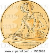 Vector Clip Art of Retro Sketched or Engraved Happy Housewife Wearing an Apron and Ironing Laundry in an Orange Circle by Patrimonio