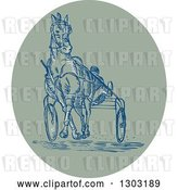 Vector Clip Art of Retro Sketched or Engraved Harness Racing Scene in an Oval by Patrimonio