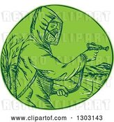 Vector Clip Art of Retro Sketched or Engraved Herbicide Sprayer in a Green Circle by Patrimonio