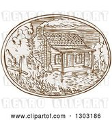 Vector Clip Art of Retro Sketched or Engraved Log Cabin with Smoke Rising Rom the Chimney in an Oval by Patrimonio