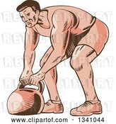 Vector Clip Art of Retro Sketched or Engraved Male Bodybuilder Working out with a Kettlebell by Patrimonio