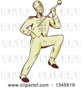 Vector Clip Art of Retro Sketched or Engraved Marching Band Drum Major Holding up a Baton by Patrimonio